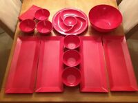 Red Party/Picnic Platters and Bowls, dishwasher safe in very good condition.