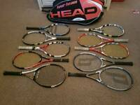 Collection of professional tennis racquets