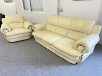 CREATIONS TOP GRADE LARGE LUXURIOUS 3 & 1 LEATHER SOFAS SUITE