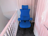 Blue memory foam office chair with adjustable head and arm rests & height, Excellent Condition