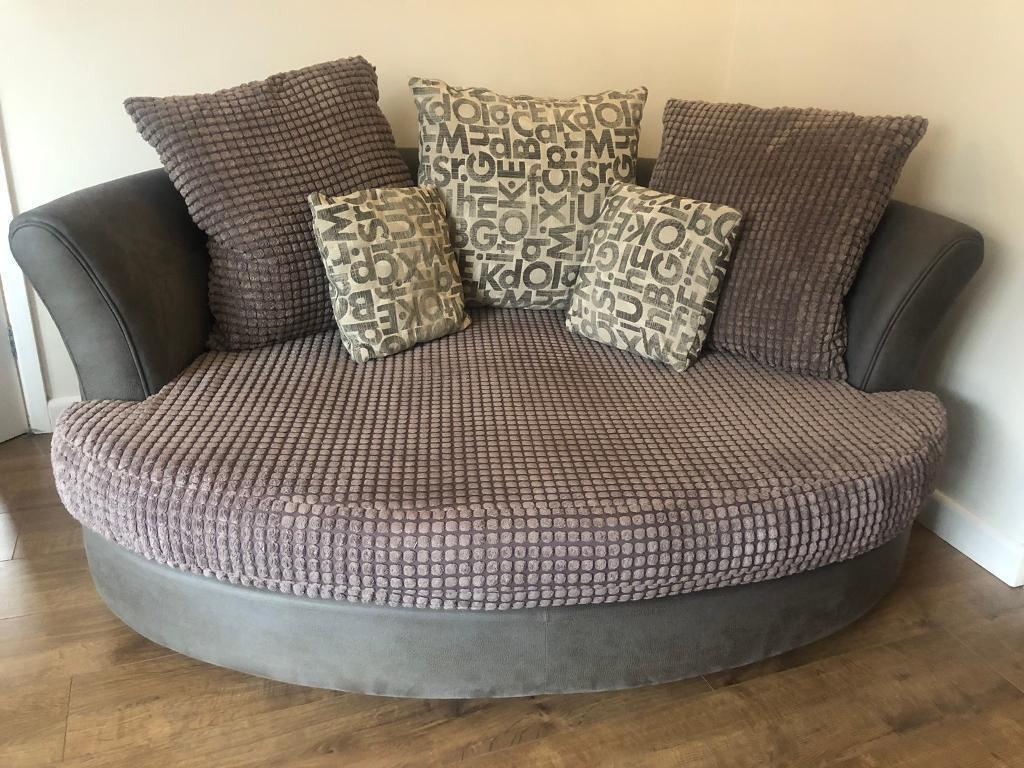 Grey Leather Fabric Cuddle Sofa Dfs