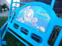 Buzz Lightyear childs metal bed. VGC but no mattress. Blue colour