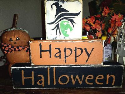 Blocks ~Happy Halloween~ Green Witch Stackables Distressed (Blocks Happy Halloween)