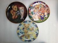 Limited Collection Franklin Mint Teddy Bear Fair Set of 3 Decorative Plates