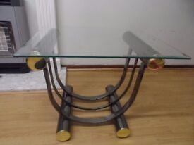 Metal Coffee Table With Heavy Duty Tempered Glass
