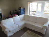 L-shaped White Corner Sofa