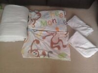 Lightweight Cotbed Duvet Set Bedding + John Lewis Towels with hoods WILL POST