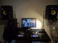 Digital DJ gear (Pioneer DDJ-SR, KRK Rokit speakers).