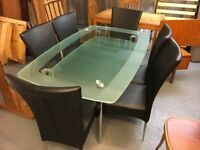 NICE CHROME AND GLASS TWO TIERED TABLE WITH SIX CHAIRS