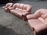 Pink Leather 2 seat Sofa and 2 Armchairs Delivery Available