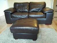 Leather sofa bed, armchair and footstool