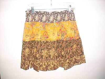 American Rag Skirt Small 100% Cotton Orange Brown Multi Tiered Elastic Waist