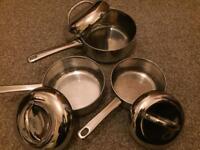 Saucepan set (Meyer steel) with lids