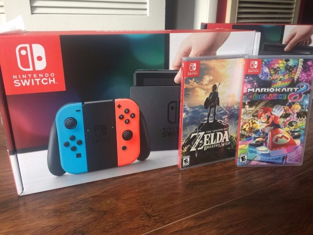nintendo switch neon with zelda botw mario kart 8 and official case in whitnash. Black Bedroom Furniture Sets. Home Design Ideas