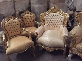Black Friday sale Gold French carved throne chair 1/2 price sale brand new