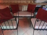 Wrought Iron Chair and Table Set