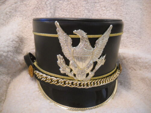 Black with Gold Eagle and piping, Marching Band Uniform Hat Shako