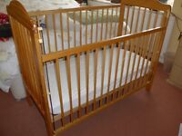 Mothercare pine baby cot and mattress, plus 2 fitted sheets