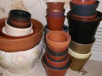Unwanted Large Assorted Plastic & Ceramic Empty/ hand decorated plant pots mixed shapes & Sizes.