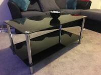 Glass black coffee table
