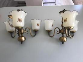 Pair of brass light fittings