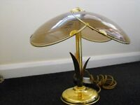 Retro 1980's TABLE LAMP in Gold Effect with Gold/Bronze matching Glass Shade - stands 35cm high