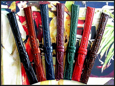 8mm Red Alligator Calf Ladies watch band Leather strap IW SUISSE 10-12-14mm USA 14mm Ladies Watch Band