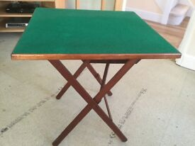 FOLDING WOODEN CARD TABLE WITH GREEN BAIZE TOP.