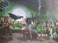 Original Batman painting based on the Arkham Game series by Derbyshire Bases Artist