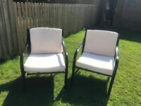 2 comfy garden chairs black metal with cushions