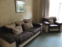 Large 3-piece suite. Leather and fabric mix