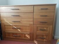 Large solid oak Wood chest of Drawers - 10 Drawers -- £275