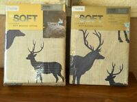 STAG DESIGN BRUSHED COTTON DOUBLE DUVET AND FITTED SHEET