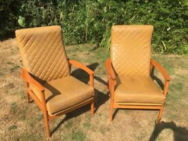 Vintage pair of mid century Australian Don Rex reclining has armchairs