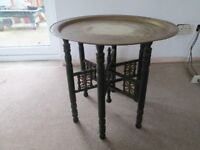 indian/islamic folding brass topped table