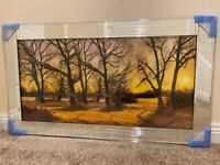 *NEW* Sunset Winter Trees Woodlands Glass Picture Mirror Framed Liquid Art (115x65cm)