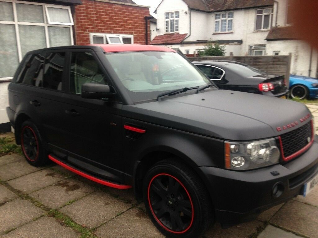 Range Rover Sport 2.7 TD V6 HSE -Wrapped Matt Black & Red ...