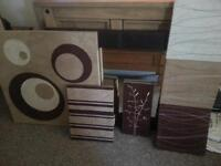 (job lot) canvases and brown faux leather mirror