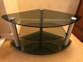 Black Smoke Glass 2 tier TV Stand
