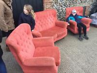cottage style sofa and two arm chairs