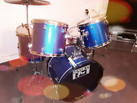 SESSION PRO 5 PIECE BLUE DRUM KIT WIT CYMBALS AND SILENCER DRUM PADS+STOOL