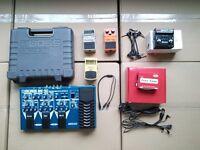 Boss Pedals, TRex power supply & Radial Big Shot looper/line switcher.