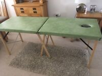 Massage Table. Professional. 6' Padded. Collapsible With Handle. Green. Face Hole. Wooden Legs