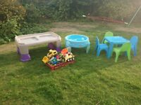 Childrens table and chairs and play table
