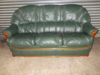 Green Italian Full Leather 3-2-1 Suite