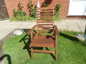 HARDWOOD HIGH BACK MULTI POSITION GARDEN CHAIRS X 4 USED TWICE AS NEW