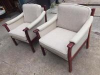 Vintage retro Danish mid century modern wool armchairs pair wooden frame