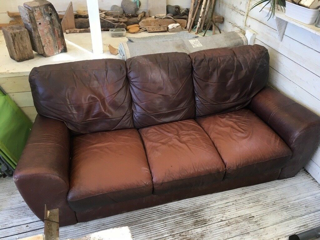 FREE Large fake leather sofa FREE ideal for pets/kids in garage ...