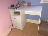 White desk with three drawers - good condition!