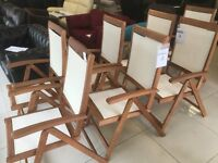 8 Brand New Natural Wooden Reclining Outside Chair With Fabric Seat And Backrest